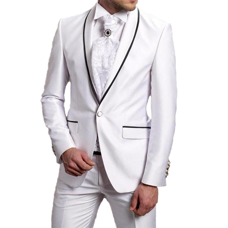 One Button White Men Suits For Wedding Black Edge Groomsmen Tuxedos Two Pieces Business Prom Suits Best Man Suits(Jacket+Pants)