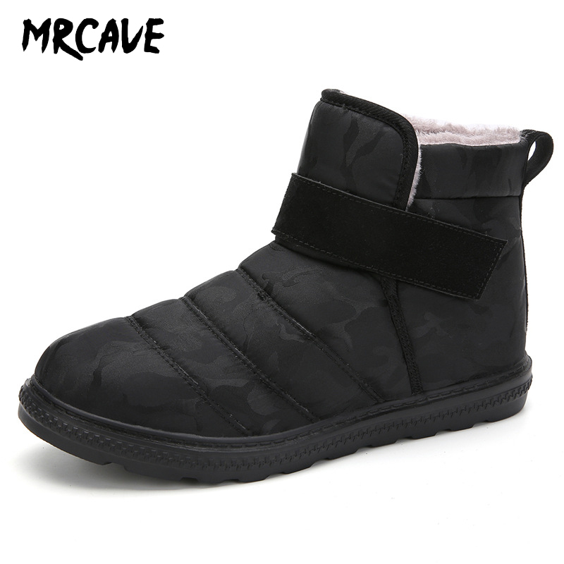 MRCAVE Hot Sale 2020 New Fashion Men Boots Waterproof Ankle Snow Boots Winter Work Shoes Keep Warm Fur Men Footwear Outdoor Plus image