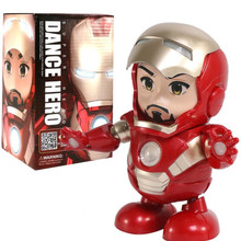 Dance Iron Man Hero Action Figure Toy Led Flashlight With Sound Electronic One Piece Funko  Anime