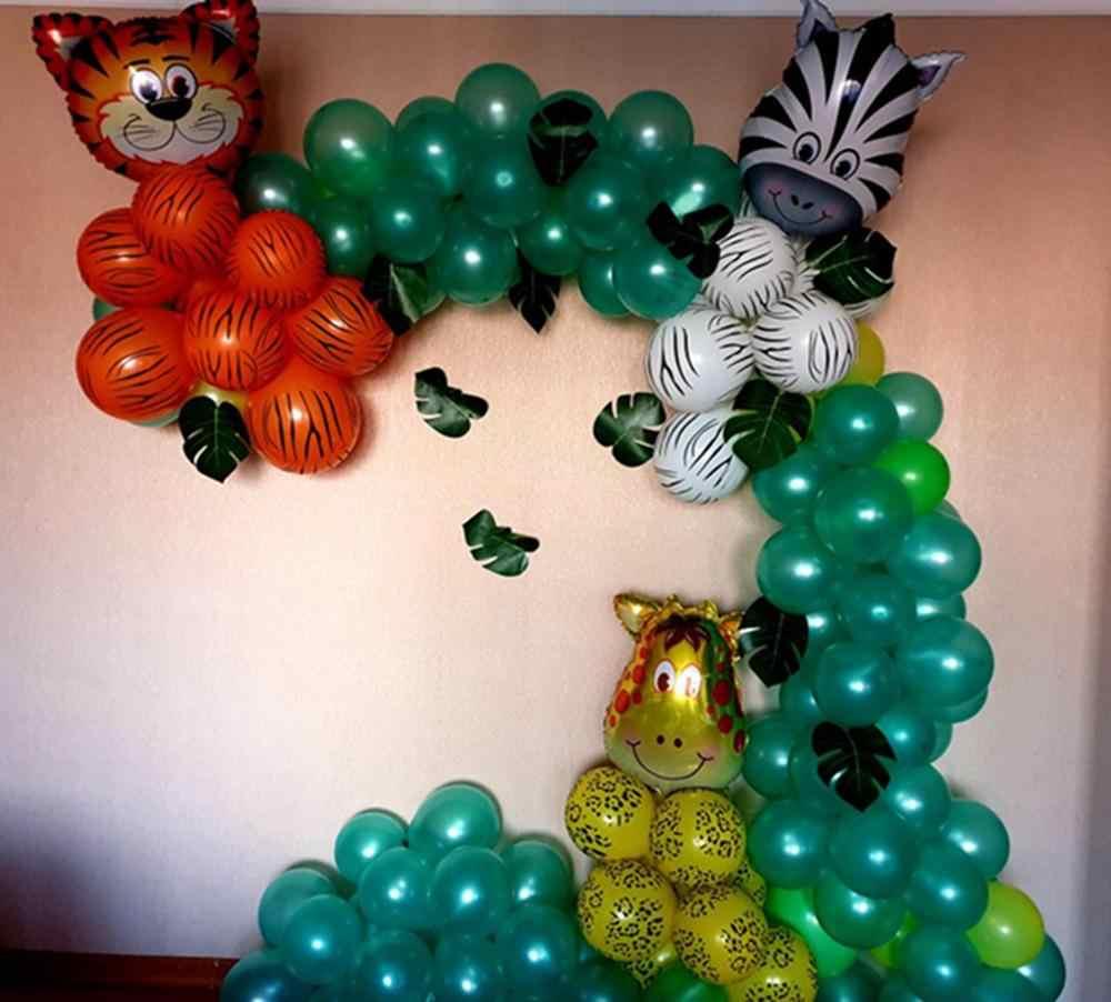Vert palmier feuille ballons Safari Jungle fête enfant fille garçon joyeux anniversaire fête décor enfants Tropical dinosaure fête sauvage un