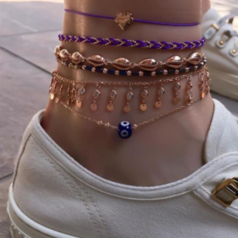 Tocona 6pcs/sets Bohemian Summer Shell Gold Anklets for Women Men Colorful Rope Tassel Foot Chain Jewelry Wholesale 8730