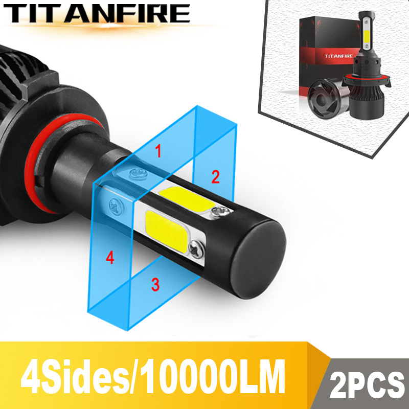 TF30 New 4 Sides 3000K 6000K 8000K 100W 10000lm 9005 9006 H11 H4 H7 Car LED Headlight Bulbs Auto Led HB3 HB4 9007 HB5 Headlamps