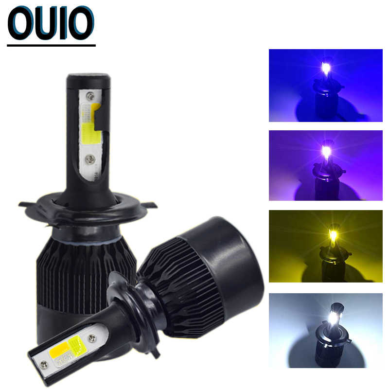 2PCS 6000K Strobe Flash Light Black C6 H4 LED Bulbs Car Headlight H1 H3 H7 H8 H11 Fog Light 800 881 9012 9005 9006 12V Head Lamp