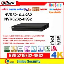 Dahua NVR 4K H.265 וידאו מקליט NVR5216 4KS2 NVR5232 4KS2 16CH 32CH עד 12Mp רזולוציה תצוגה מקדימה והשמעה Tirpwire DVR