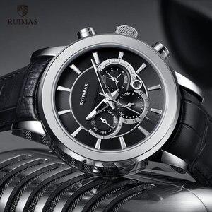 Image 1 - RUIMAS Automatische Militär Uhren Wasserdicht Sport Armbanduhr Lederband Mechanische Uhr Mann Relogios Masculino Uhr 6767