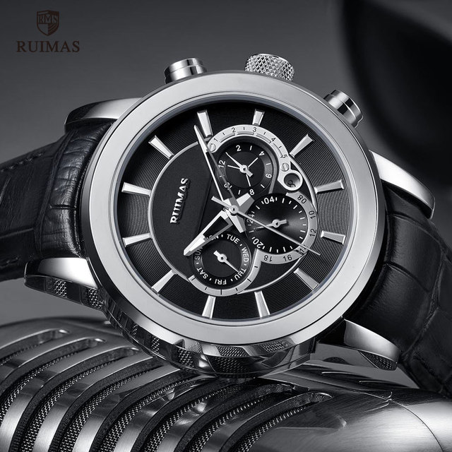 RUIMAS Automatische Militär Uhren Wasserdicht Sport Armbanduhr Lederband Mechanische Uhr Mann Relogios Masculino Uhr 6767