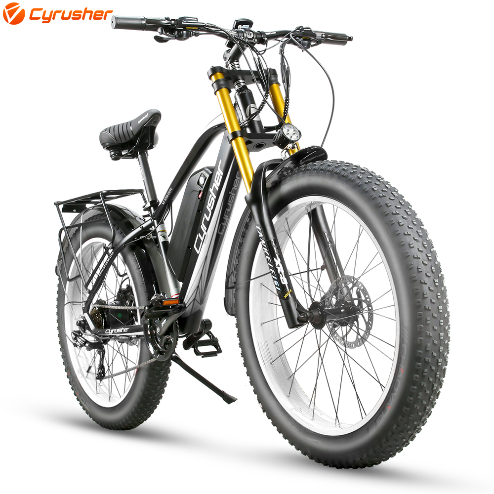 Cyrusher Electric Bicycle 48V 750W 17ah Fat ebike Mountain Electric Bike <font><b>Motorcycle</b></font> Style Full Suspension <font><b>e</b></font> bike Big Fork XF650 image