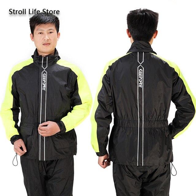 Motorcycle Rain Jacket Raincoat Men Rain Pants Set Waterproof Suit for Fishing Rain Coat Mens Sports Suits Capa De Chuva Gift 2