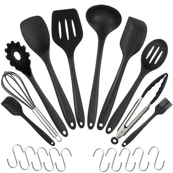 10PCS Silicone Tableware Non-stick Cookware Kitchen Cooking Tool Spatula Ladle Egg Beaters Shovel Spoon Soup with 10 Small Hooks 1