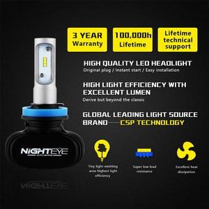 Image 2 - Nighteye h11 led para carro, h7, h4, 9005, 9006, 50w, 8000lm, 6500k, csp, kit de conversão de farol de carro, lâmpada de neblina lâmpada super brilhante para carro