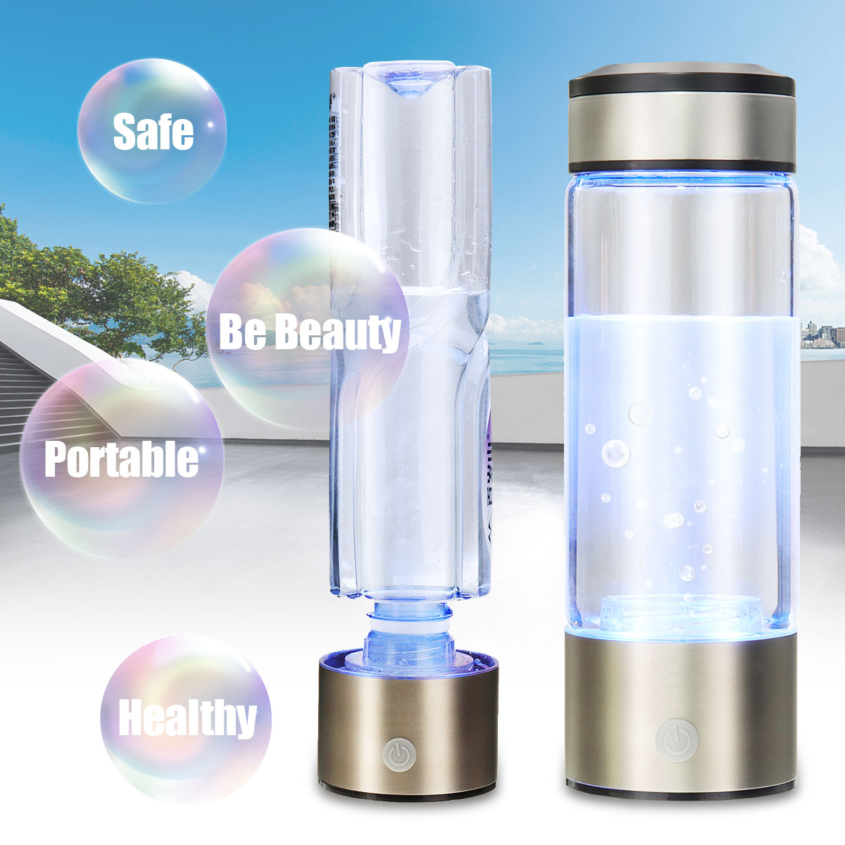 Portable Hydrogen-Rich Water Bottle Alkaline lonizer Hydrogen-Water Generator Maker Rechargeable Water Filter Ionizer Anti-Aging image