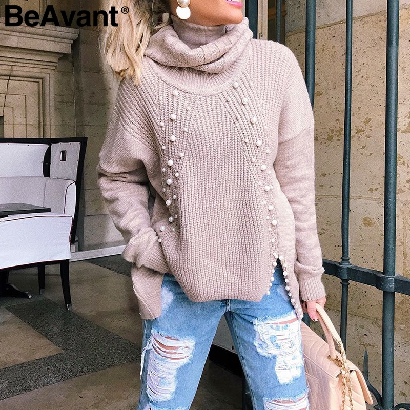 BeAvant Turtleneck Plus Size Loose Knitted Sweater Beading Split Casual Pullover Sweater Long Sleeve Womens Jumpers Winter 2019