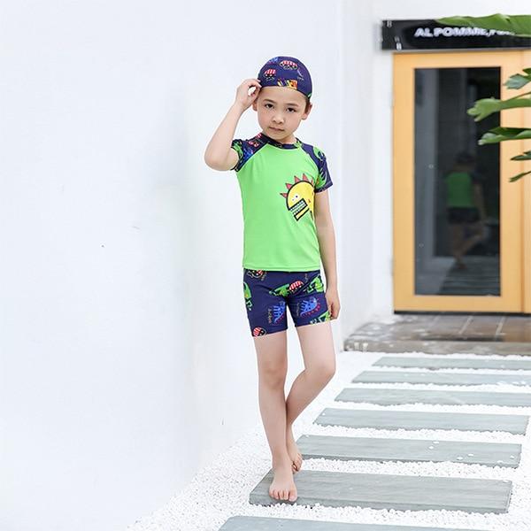 KID'S Swimwear BOY'S Swimming Suit Big Kid Swimming Trunks Set Swim Cap Baby Split Type Swimwear Set Three-piece Set Wholesale