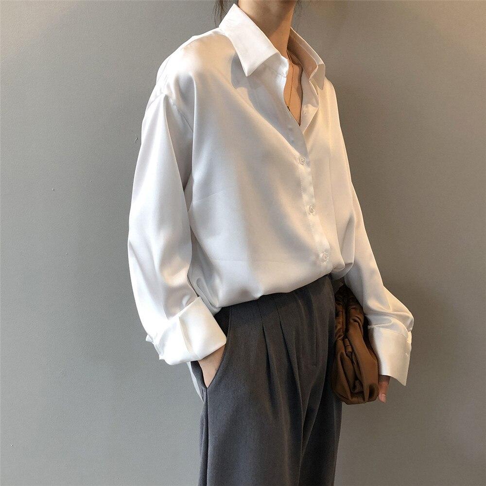 High quality Women Silk Satin Blouse 2020 Summer Women Satin Blouses Shirt Office Long Sleeves Femme V Neck Loose Street Shirts (15)