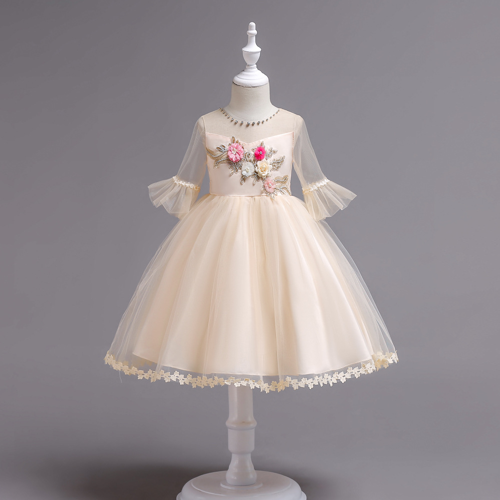 Childrenswear CHILDREN'S Dress Tutu Flower Boys/Flower Girls Princess Skirt Girls' Short Sleeve Shirt Embroidery Performance Sma