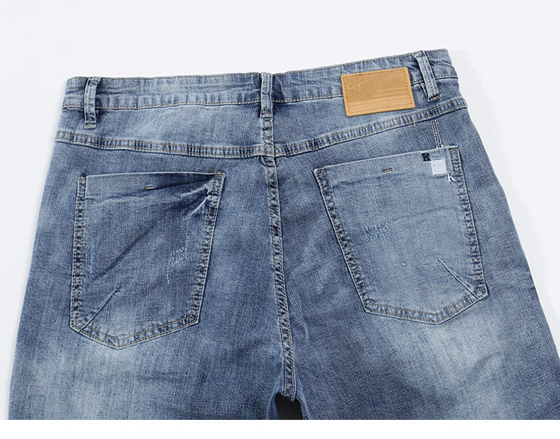 KSTUN Mens Light Blue Jeans Shorts Slim Fit Jeans Men Stretch Summer Denim Short Pants Fashion Leisure Male Jeans Quality Brand 14