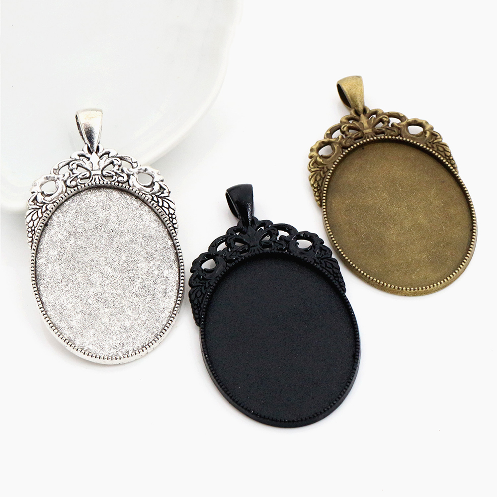 New Fashion  5pcs 30x40mm Inner Size Black And Antique Silver Plated And Bronze Cabochon Base Setting Charms Pendant