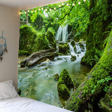 Nature forest waterfall printing wall hanging 3d digital printing tapestry home decoration