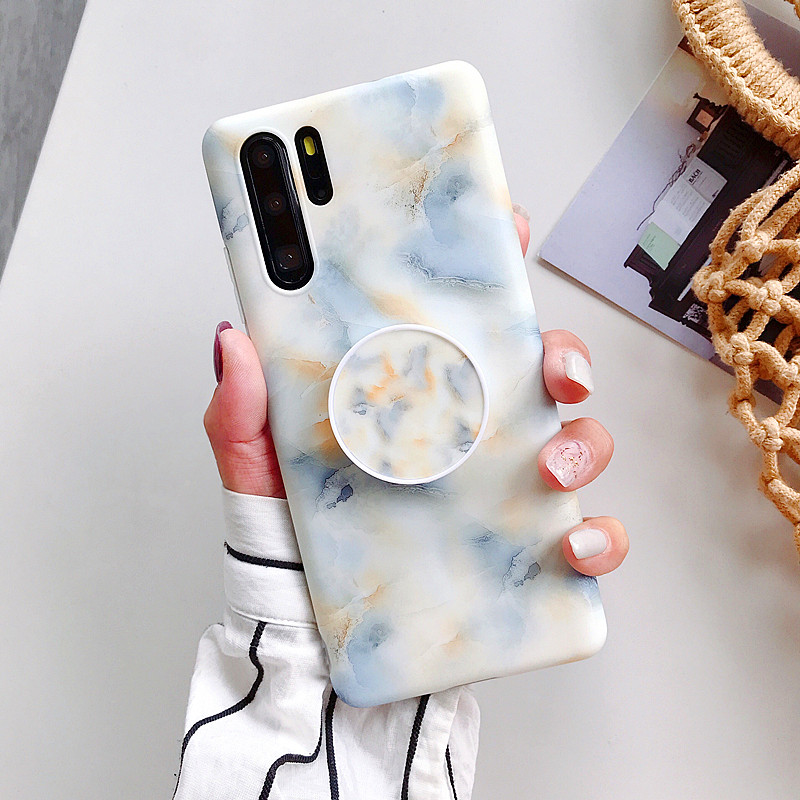 2019 Newest Marble Case For Huawei P20 Lite P30 Pro Nova 3i 3e 4e Mate 20 Lite Back Cover Soft IMD Silicone Frosted Phone Coque in Half wrapped Cases from Cellphones Telecommunications
