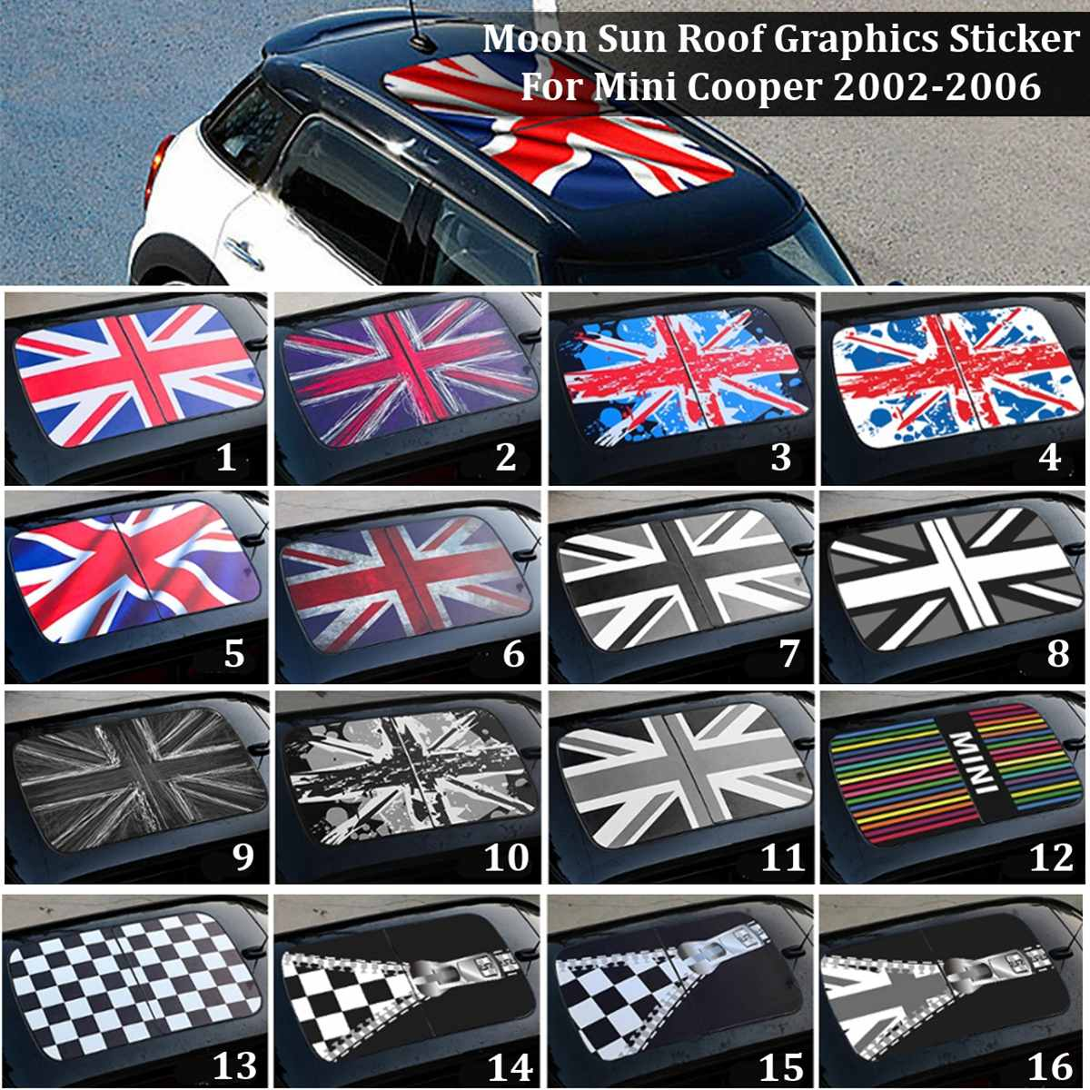 PVC Car Sun Roof Graphics Decor Sticker Decal DIY Styling For Mini Cooper 2002-2006 F54 F55 F56 R55 R56 R60