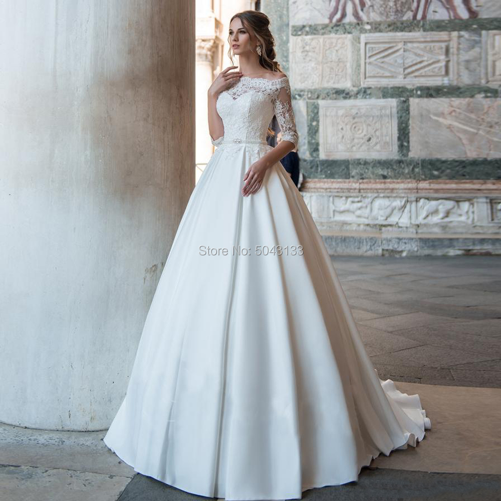 2020 Vestidos Noiva A-line Lace Appliques Wedding Dresses Boat Neck Long Sleeves Off Shoulder Satin Bride Gowns With Beaded Sash