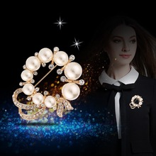 Qiongfu 2020 New Style for Autumn and Winter Diamond Brooch Wholesale High-End Pearl Brooch All-match Clothing Pin Accessories 2019fashion 1pc woman girl imitation pearl brooch classic charm high quality accessories simple double pearls brooches all match