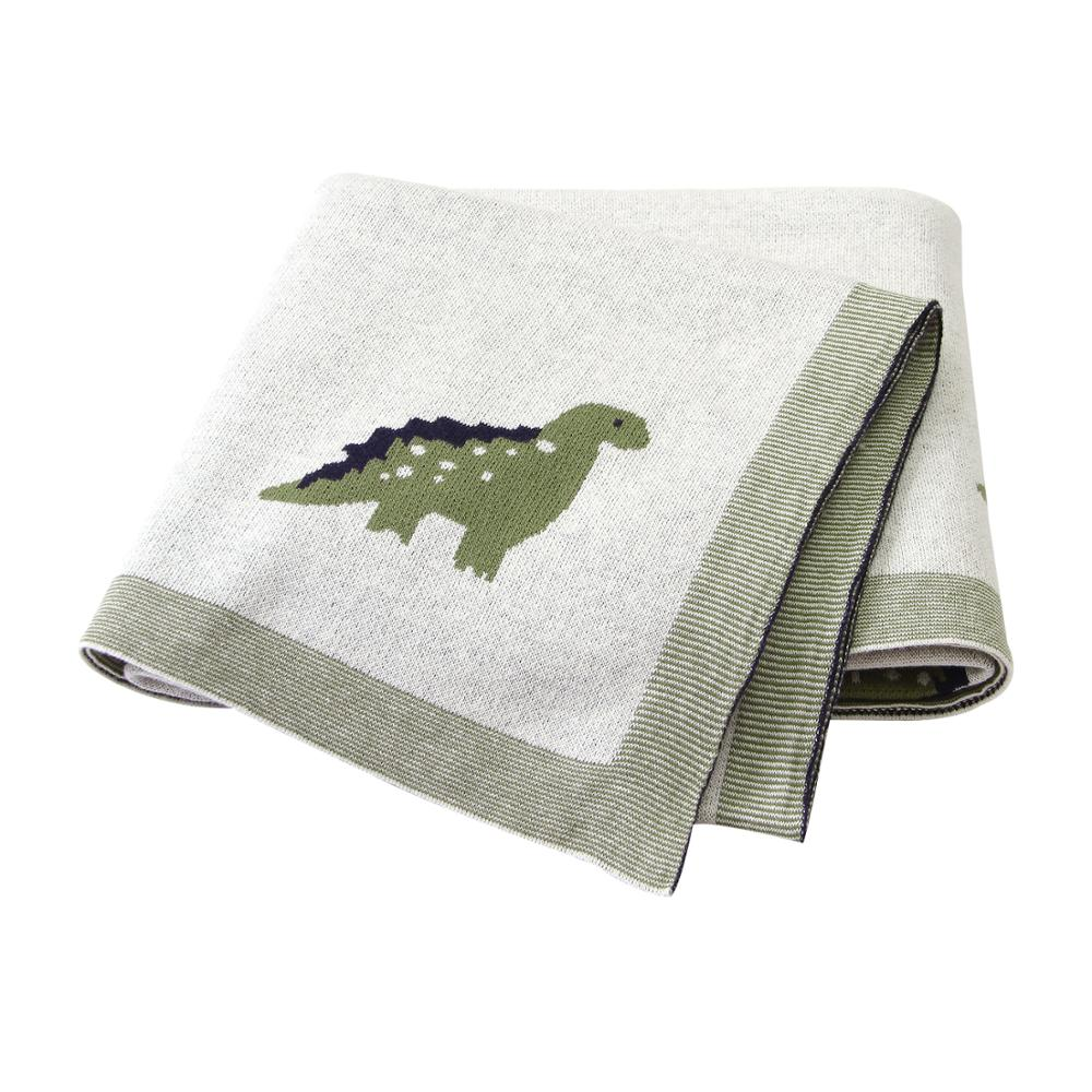 Baby Blankets Knitted Newborn Super Soft Cotton Blankets 100*80cm Cute Dinosaur Newborn Infant Bebes Swaddle Wrap Bedding Quilts