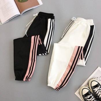 Plus rozmiar workowate spodnie haremki kobiety oddychające szybkie suche wypoczynek letnie miękkie spodnie dresowe damskie wysokiej talii długie spodnie Harajuku tanie i dobre opinie TSDFC COTTON Poliester Pełnej długości CN (pochodzenie) Lato VVW01 Patchwork HIP HOP Hip hop spodnie Mieszkanie REGULAR