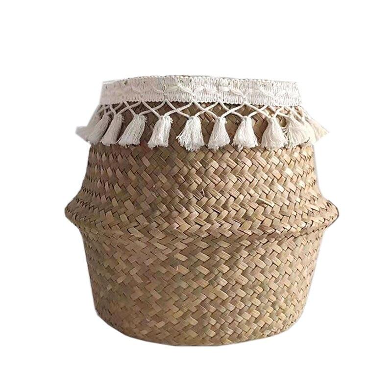 Handmade Decoration Macrame Tassel Wicker Basket Garden Flower Pot Vase Study Room Storage Rattan Basket Home Organizer Basket