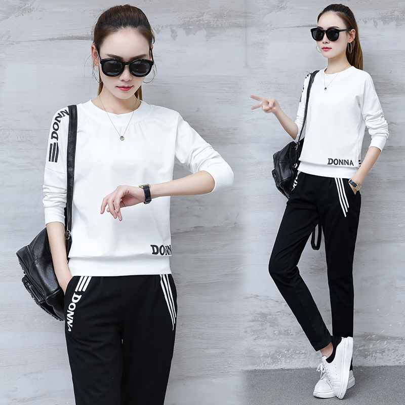 2019 Spring And Autumn Korean-style Long-sleeved Sweater + Trousers Two-Piece Women's Casual Fashion & Sports WOMEN'S Suit
