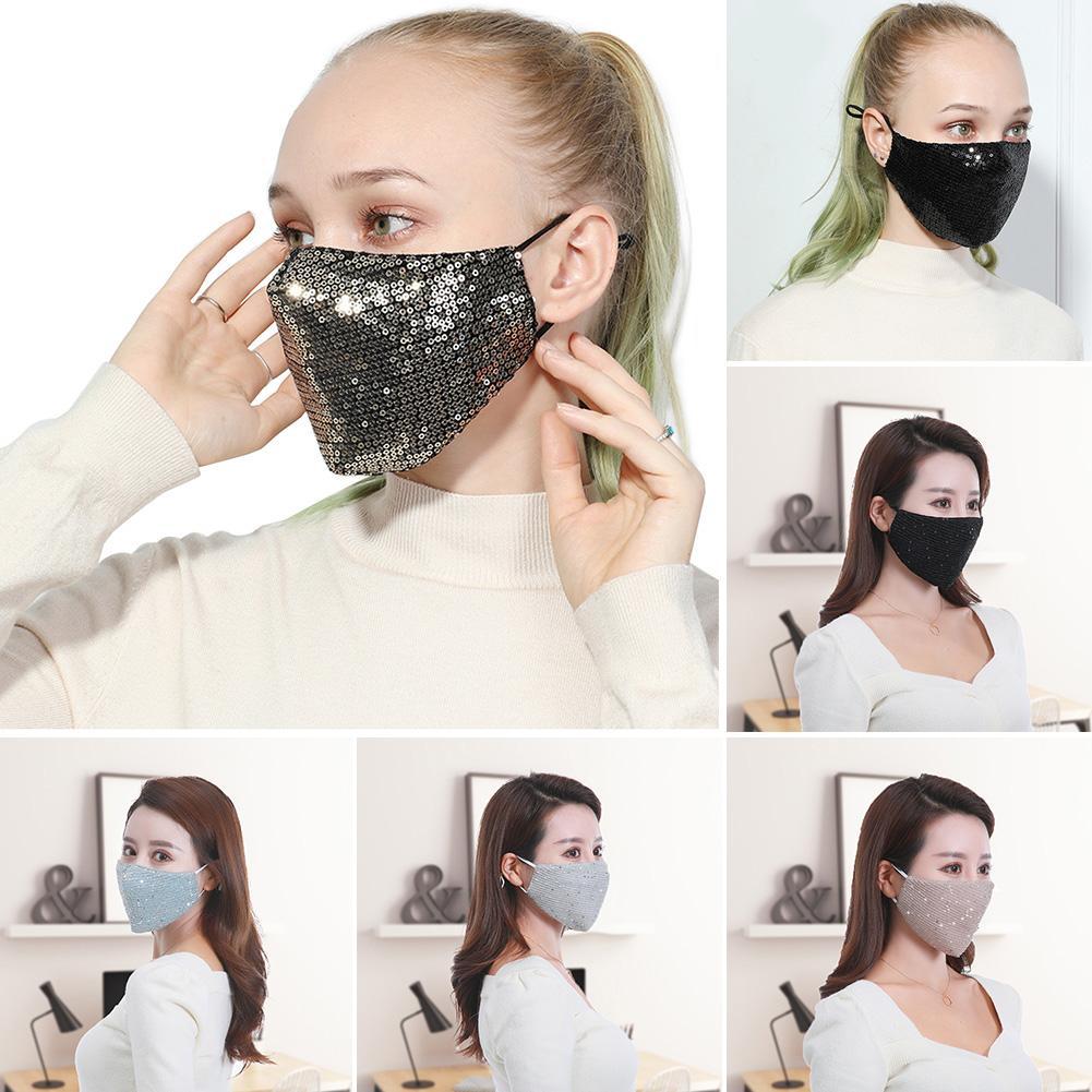 Unisex Fashion Sequin Breathable Anti Haze Dust Cotton Protective Face Mask Mascara Mujer Respiratore Polmonare Fast Shipments
