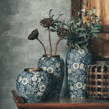 Jingdezhen Vintage Decor Ceramic Pot Blue And White Porcelain Vase Traditional Chinese Golden Flower Vases Gift