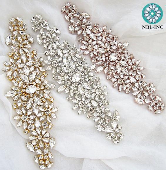 (1 шт.) свадебное платье ручной работы, украшенное бусинами, стразами и аппликацией, Серебряное розовое золото, железное украшение для свадебного платья WDD0633