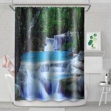 180*180cm Waterproof Anti-mildew 3D Waterfall Bathroom Shower Curtain Window Curtain Bath Mat With Hooks