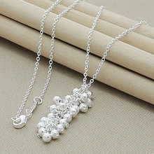 Free Shipping Silver 925 Jewelry Elegant Frosted Beads Round Necklace Pendant for Women Jewelry Best Gifts(China)