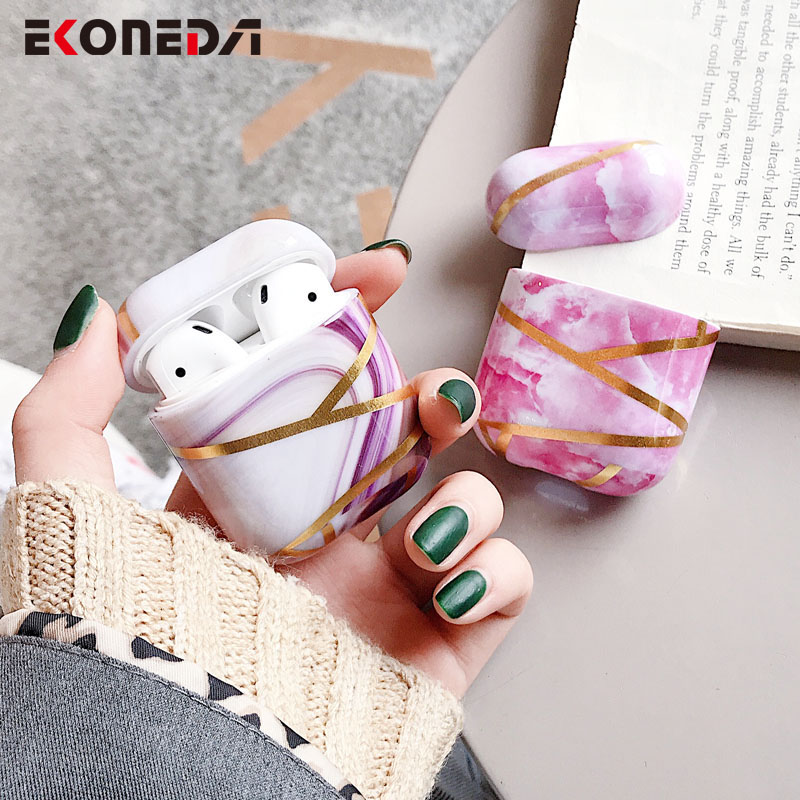 EKONEDA Luxury Marble Earphone Case For Airpods 2 Hard Plastic Case Charging Box Shell For Airpod Protective Cover