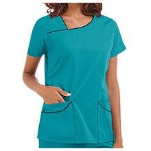 Beauty Salon Work Uniforms Women Short Sleeve Spa Working Wear Nurse Scrubs Tops Healthcare Tunic VET Therapist Uniform A50
