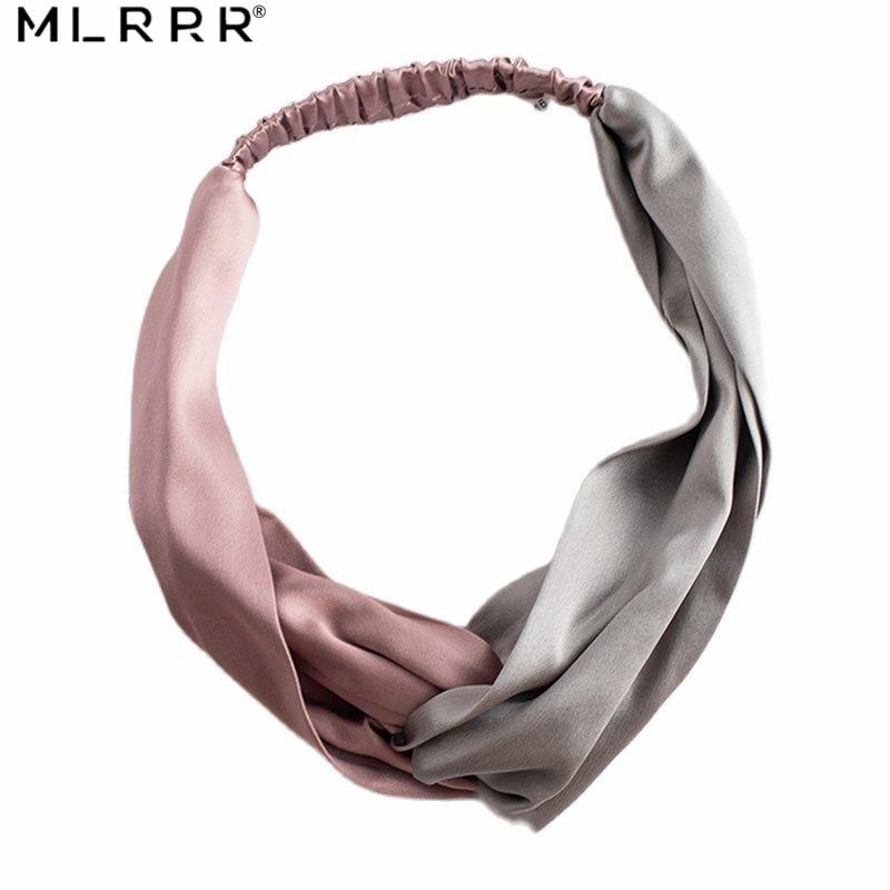 MLRRR 100% Silk 30 Mumi Hair Headwear Hair Band Cross Elastic Belt Charms Hair Towel Hair Ribbons