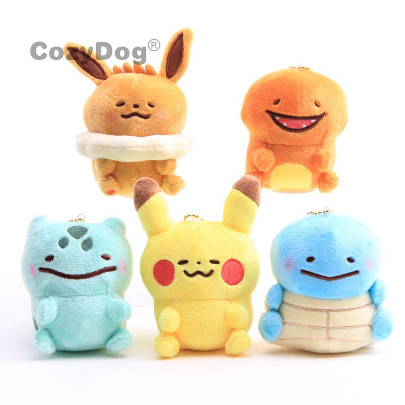 Anime Pikachu Keychain Bag Pendant Toys Kawaii Eevee Charmander Bulbasaur Squirtle Plush  Stuffed Animals Toy Doll Children Gift