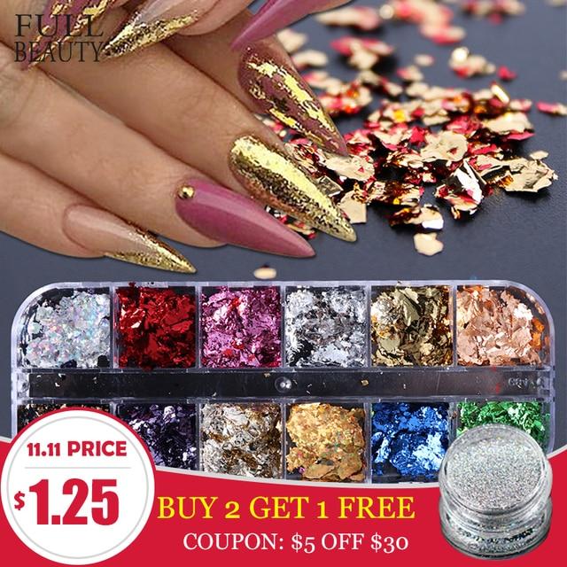 Paleta de lentejuelas para uñas, 12 rejillas, escamas irregulares de aluminio, pigmento de oro, decoración de uñas, láminas de brillo, CH950 1 de papel