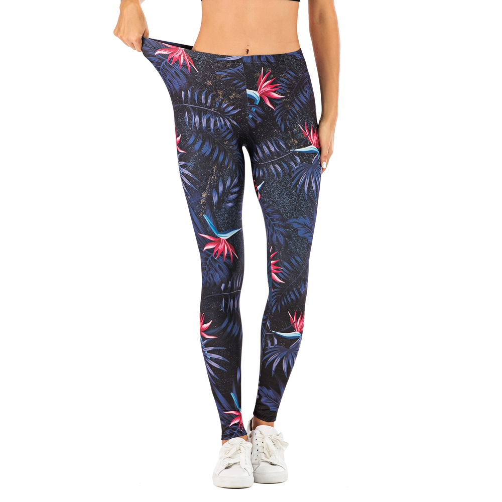 Women Sexy Legging Night Flowers Printing Fitness Leggins Fashion Slim Legins Soft And Stretchy Leggings Woman Pants
