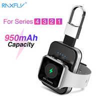 RAXFLY porte-clés chargeur sans fil pour Apple i Watch Series 2 3 4 5 950mAH batterie externe à LED Dock extérieur portable chargeur sans fil 5