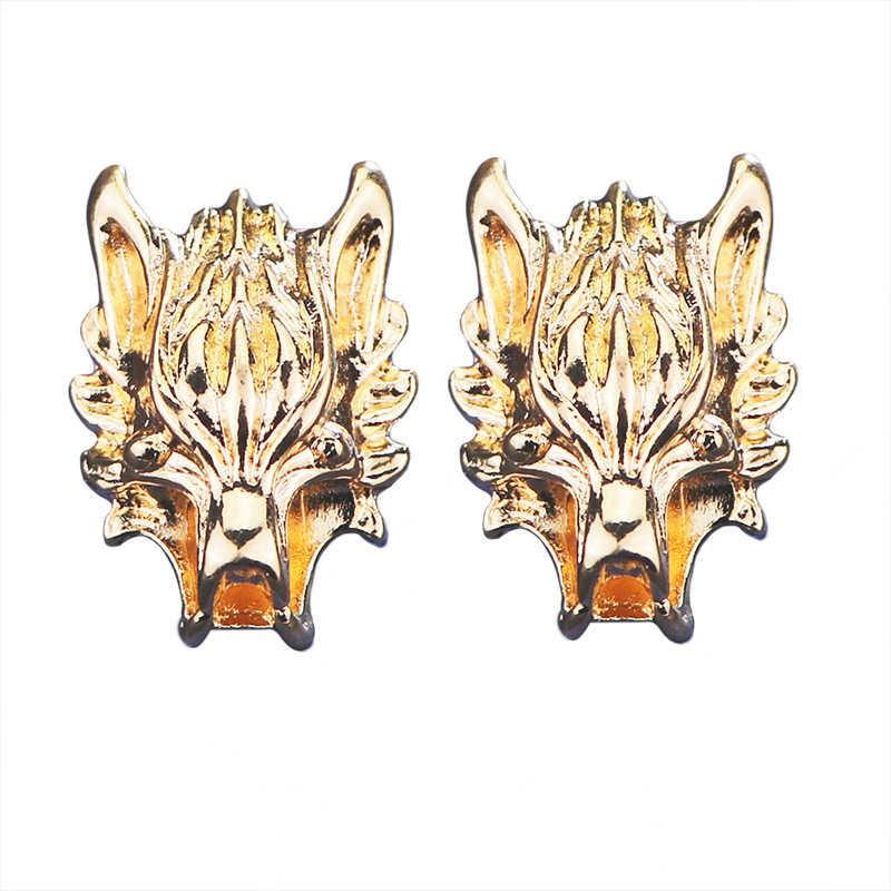Metall Drachen Tier Pins und Broschen Drachenkopf Brosche Hemd Kragen Chip Quaste Kette Blume Anzug Revers Zubehör