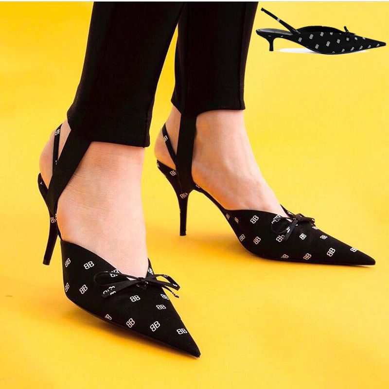 EMMA KING Fashion Burgundy Slingback Pumps Sexy Women High Heels Shoes Ladies Pointed Toe Thin Heels Party Shoes Drop Shipping
