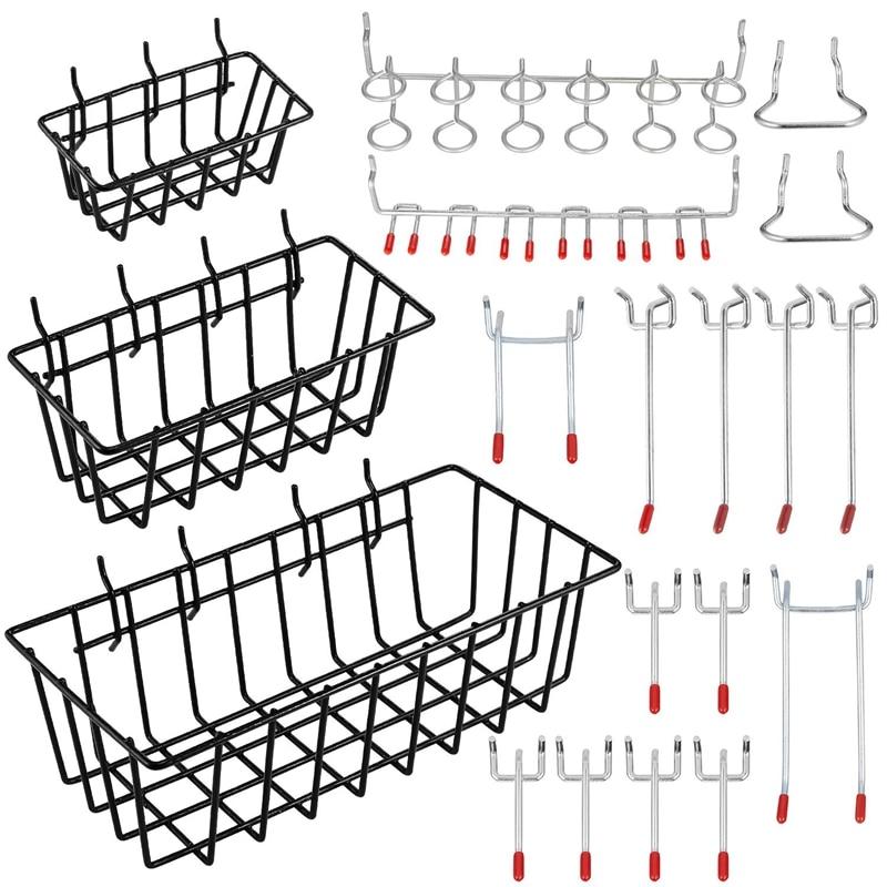 New Pegboard Hooks With Basket Assortment Home Storage Hooks System Peg Board Tool Hanger Set Garage Kitchen Workshop Organizer