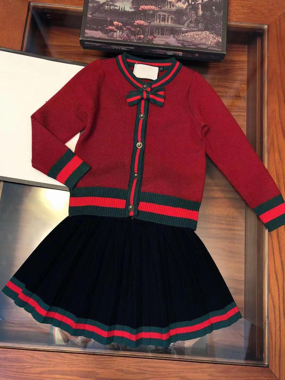 Ensemble de robe de fille conception de marque de luxe Preppy Style chandail tricot jupe en cachemire 3 couleurs 3-7y