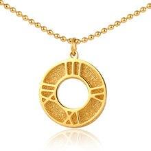 Панк Золотой Круглый Римский кулон ожерелье из нержавеющей стали