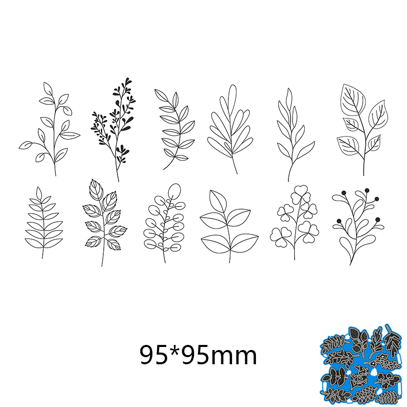 95*95mm 12pcs Leaves Creative New Metal Cutting Dies Scrapbook Embossing Paper Craft Album Card Punch Knife