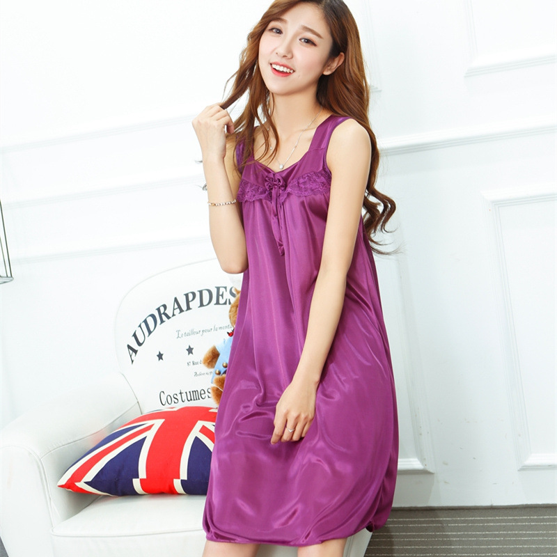 Sexy Pajamas Women's Summer Viscose Camisole Sleeveless Nightgown Plus-sized Large Size Fat MM200 Jin Loose-Fit Real Silk Midi-s