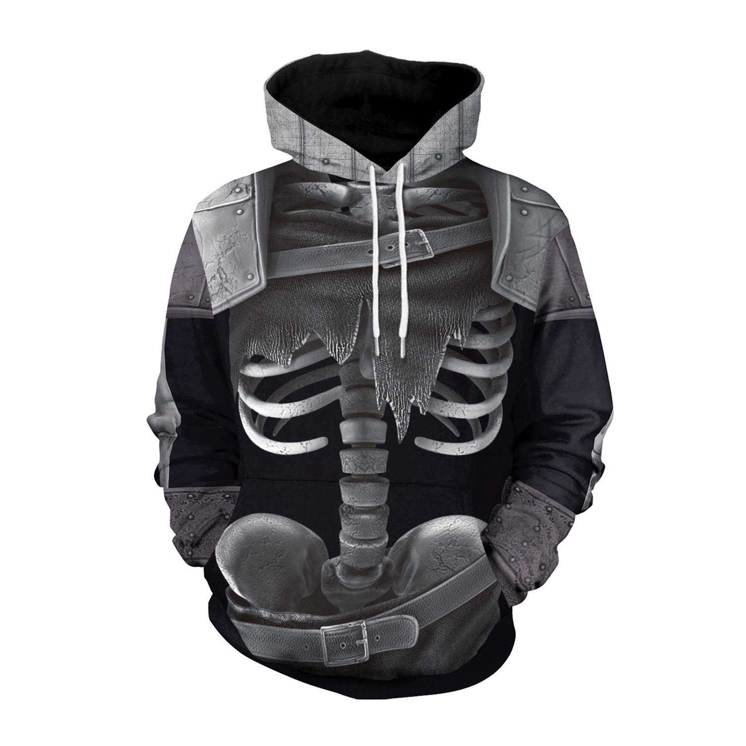 Cross Border Supply Of Goods Halloween Europe And America Hot Sales Fortnite COS Skeleton 3D Digital Printing Hoodie WB101-025